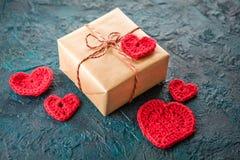 Haak valentijnskaartharten Stock Afbeelding