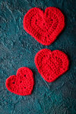 Haak valentijnskaartharten Royalty-vrije Stock Afbeeldingen