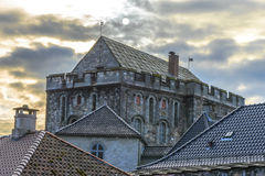 Haakons Hall i den Bergenhus fästningen i Bergen, Norge arkivbild