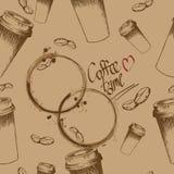 Haal koffiekop en bonenpatroon weg Royalty-vrije Stock Foto's