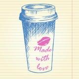 Haal koffiekop op notitieboekjeachtergrond weg Royalty-vrije Stock Fotografie