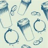 Haal koffiekop op notitieboekjepatroon weg Stock Foto