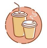 Haal koffiepictogram, vlakke ontwerp vectorillustratie weg Stock Fotografie