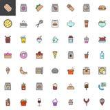 Haal voedsel gevulde geplaatste overzichtspictogrammen weg stock illustratie