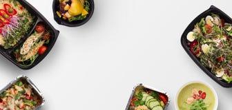 Haal voedsel, verscheidenheid van weg gezonde maaltijd hoogste mening stock foto's