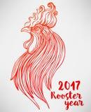 Haan, Chinees dierenriemsymbool van het jaar van 2017 Kleurrijke vector Stock Fotografie