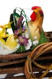 Haan in een kar met een ei Royalty-vrije Stock Afbeelding