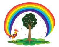 Haan en een regenboog. Stock Fotografie