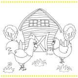Haan en kippen op bacgroung van landelijk landschap Stock Afbeelding
