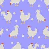 Haan en kippenpatroonblauw Stock Fotografie