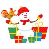 Haan en sneeuwman Royalty-vrije Stock Foto's