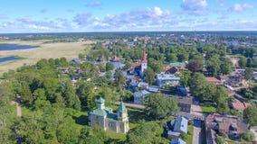 Haapsalu Estland Härlig flyg- sikt i sommarsäsong Arkivfoto