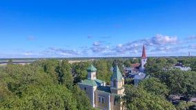 Haapsalu Estland Härlig flyg- sikt i sommarsäsong Fotografering för Bildbyråer