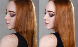 Haar before and after behandeling royalty-vrije stock foto's