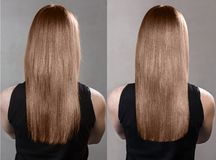 Haar before and after behandeling royalty-vrije stock foto