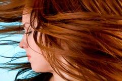 Haar in einem wirbelnden Wind Stockfotos