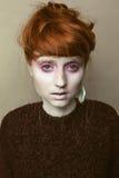 Haar-Schönheitsmake-up des Ingwers unordentliches lizenzfreie stockfotografie