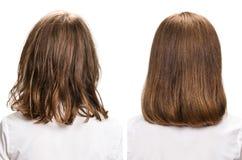 Haar vor und nach Behandlung Lizenzfreies Stockfoto