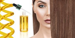Haarbehandeling door olietherapie in spiraal royalty-vrije stock foto's