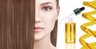 Haarbehandeling door olietherapie in spiraal stock afbeelding
