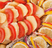 Haarder stuffed baked with potatoes and tomatoes Royalty Free Stock Image