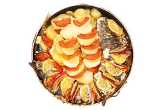 Haarder stuffed baked with potatoes and tomatoes Royalty Free Stock Photos
