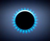 Haardplaat met een gasfornuis. Blauwe Vlam Royalty-vrije Stock Afbeelding