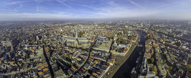 Haarlem center with river Spaarne Royalty Free Stock Images