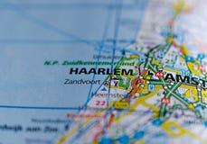 Haarlem en mapa Foto de archivo libre de regalías