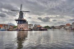 haarlem holland windmill arkivbilder