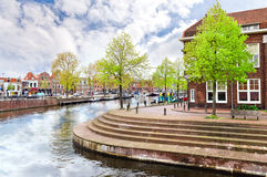 Haarlem, Netherlands. Beautiful ancient houses and the channel of Haarlem, Netherlands Stock Images