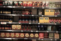 Haarlem, the Netherlands - may 8th 2016: beer in supermarket. Haarlem, the Netherlands - may 8th 2016: Beer section in a supermarket, Text on labels: product stock images