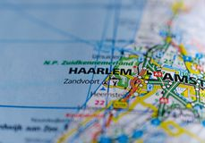 Haarlem sulla mappa Fotografia Stock Libera da Diritti