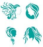Haarmode-ikonen-Symbol der weiblichen Schönheit Lizenzfreies Stockbild