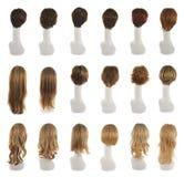 Haarperücke über dem Mannequinkopfsatz Stockfoto