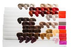 Haarproben von verschiedenen Farben Stockbild