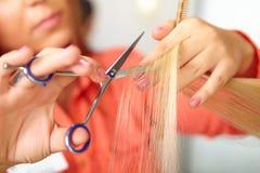Haarsalon. Vrouwen` s kapsel. Het snijden. Stock Foto's
