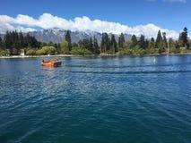 Haarscharfes Wasser des Queenstown-Ufergegendtürkises am sonnigen Tag Lizenzfreies Stockfoto