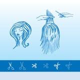 Haarschnitt am Friseur und an den Scheren Lizenzfreie Stockfotografie