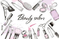 Haarschnitt, Maniküre, Make-up, Haarfärbung, Frisur, Berufsschönheitswerkzeuge anredend Stockfotografie