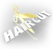 Haarschnitt-Wort-Gold Scissors Ausschnitt-Friseursalon-Art Stockfotografie