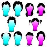 Haarschnitte und Frisuren im vektorschattenbild Lizenzfreie Stockfotos