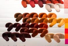 Haarsteekproeven van verschillende kleuren Royalty-vrije Stock Fotografie