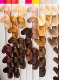 Haarsteekproeven van verschillende kleuren Stock Afbeelding