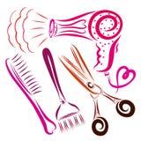Haartrockner mit einem Herzen, einem Kamm, einer Bürste für Färbungshaar und s stock abbildung