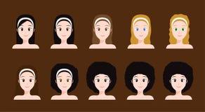 Haartypes beeldverhaal/illustratie vector illustratie