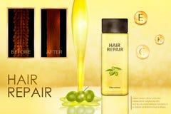 Haarverzorgingproduct met een uittreksel van olijven vector illustratie