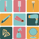 Haarzubehör- und Friseurwerkzeugfarbikonen Stockfotos