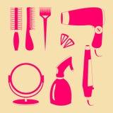 Haarzubehör- und Friseurwerkzeugfarbikonen Lizenzfreie Stockfotografie