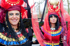 Two women dressed up in colorful costumes at Fantasy Fair Stock Photo